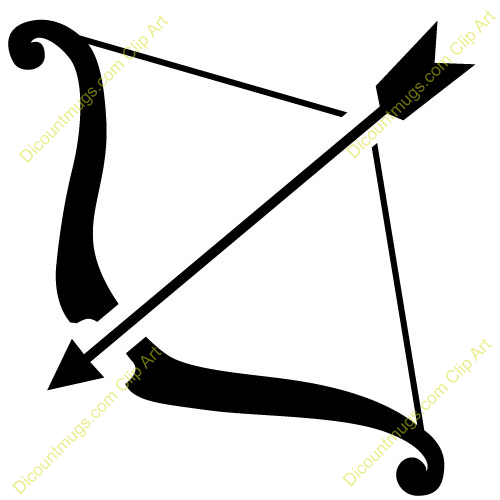 Clipart 11520 Bow and Arrow - Bow and Arrow mugs  t-shirts    Indian Bow And Arrow Clip Art