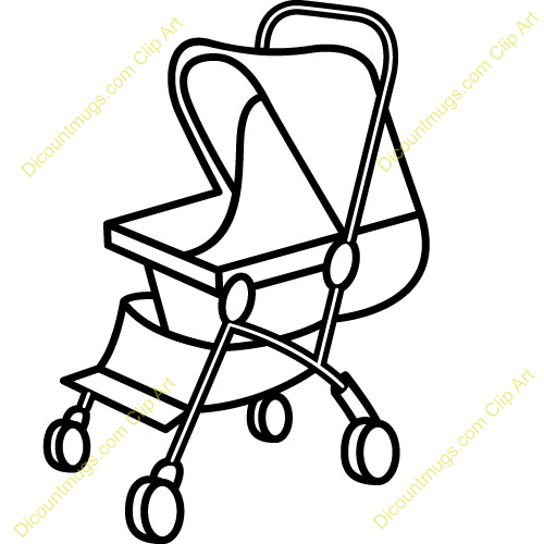 Pics Photos - Girl Pushing A Little Stroller Clip Art Image