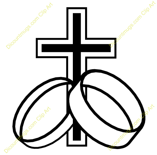 cross with wedding rings clipart