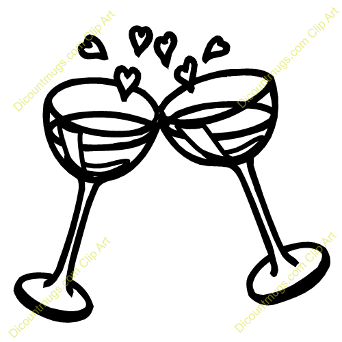 Wedding Champagne Glasses Clipart