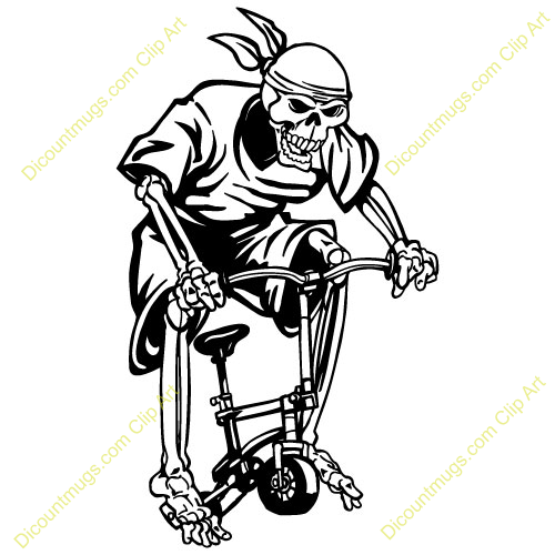 Free Skeleton on Bicycle Clipart - Custom Clip Art - 14393