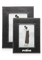 Discount Set of Two Black w/White Stitching Photo Frames
