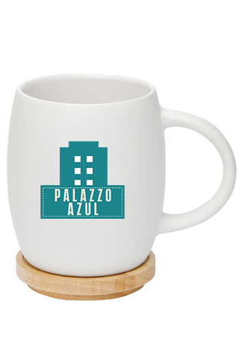 065d49bc25f Personalized 14 oz. Hearth Ceramic Mug with Wood Lid-Coasters ...