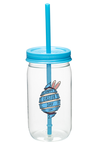 Plastic Mason Jars with Straws