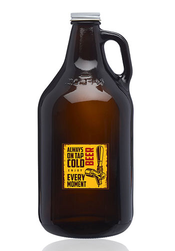 Pretty Butterfly Hand-Made Etched Glass Beer Growler 64 oz