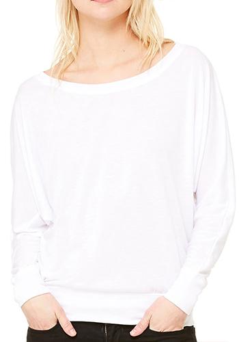 10f21f1d1085 Personalized Bella Women's Flowy Long Sleeve Off Shoulder Tees ...