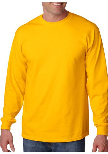 100 cotton preshrunk ag2400 for Plain yellow long sleeve t shirt