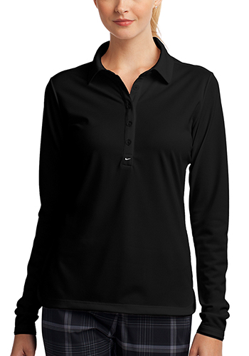 Customized Nike Ladies Long Sleeve Dri FIT Stretch Tech Polos