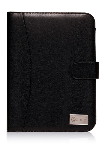 Plaque Prestige Black Leather Portfolios | PF54L
