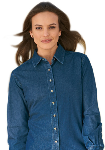Harriton Ladies Long Sleeve Denim Shirts | M550W