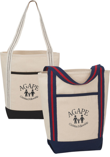 10 Oz Topsail Striped Cotton Canvas Boat Totes