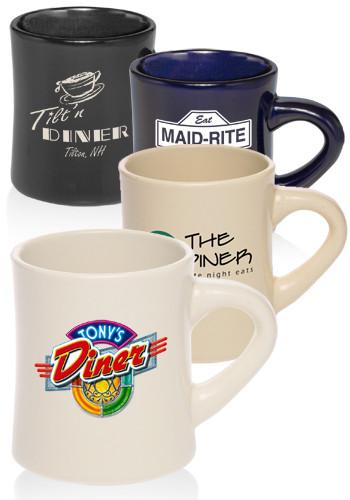Custom Diner Mugs 12 Oz Thick Grip Glossy Ceramic