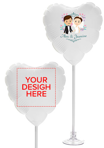 Customized 11 Inch Heart Balloons with Suction Base