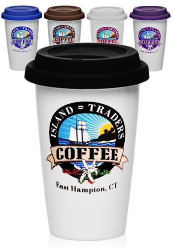 Custom 11 Oz Double Wall Ceramic Tumblers With Lid