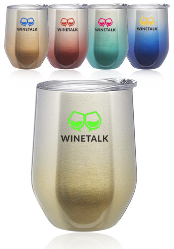 11 oz. Ombre Stemless Wine Glasses with Lid | SW46H