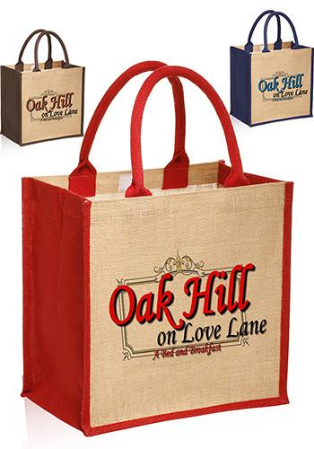 Customized Stylish Rope Handle Jute Bags Tot3756