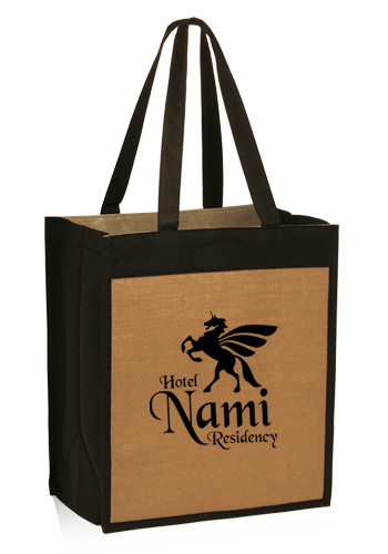 Promotional 12W x 14H Jute Color Panel Tote Bags
