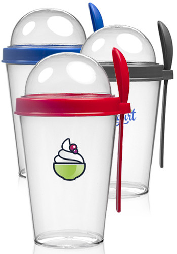 135 Oz Snack To Go Cups With Lid And Spoon Apg246