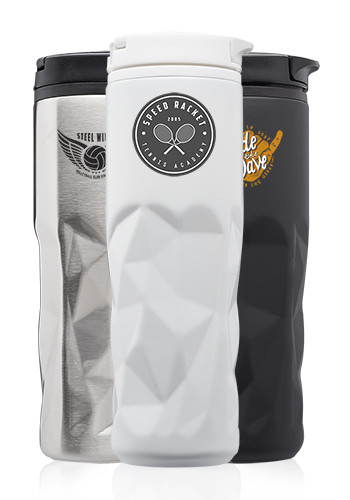 13.5 oz. Stainless Steel Travel Mugs with Geometric Pattern | TM314