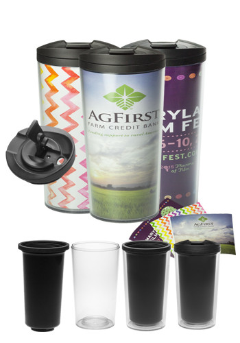 13.5 oz Small Ithica Paper Insert Personalized Photo Travel Mugs | TM104