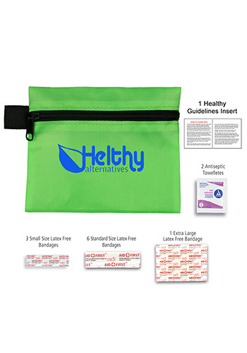 Customized 13 Piece On The Go First Aid Polyester Zipper Pouches
