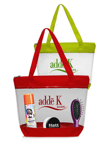Custom 14W x 11H inch Zippered Clear Plastic Tote Bags