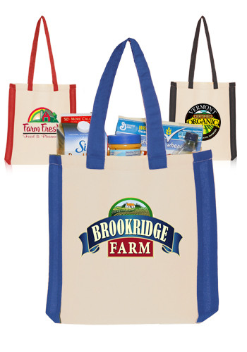 Custom Side Stripes Cotton Tote Bags
