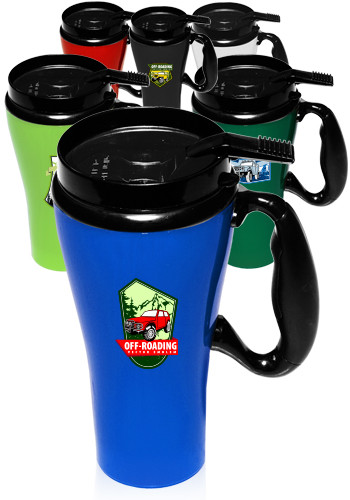 Customized 16 oz. GT Plastic Travel Mugs with Handle