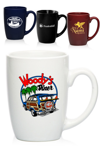 Custom 16 oz. Large Mocha Glossy Ceramic  Coffee Mugs