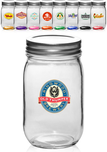 personalized 16 oz canning mason jars with lids online a1608cl discountmugs. Black Bedroom Furniture Sets. Home Design Ideas