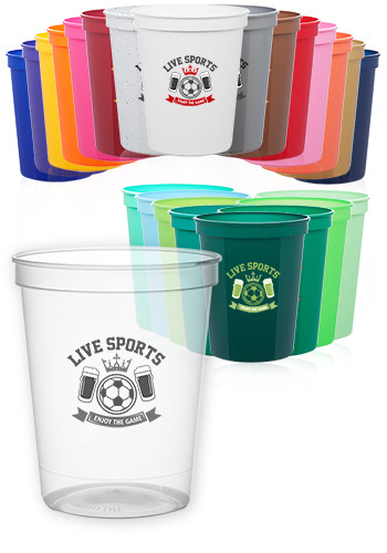Custom 16 Oz Reusable Plastic Stadium Cups Sc16 Discountmugs