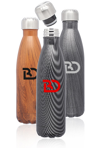 Personalized 17oz Stainless Steel Full Wrap Cola Shaped Bottles