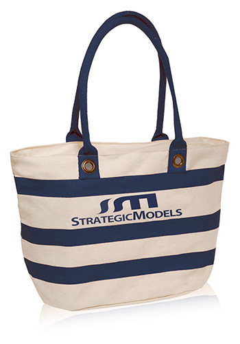 18.25W x 11H inch Striped Sailor Canvas Tote Bags | TOT3768