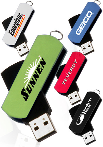 Custom 8GB Metallic Swivel USB Flash Drives