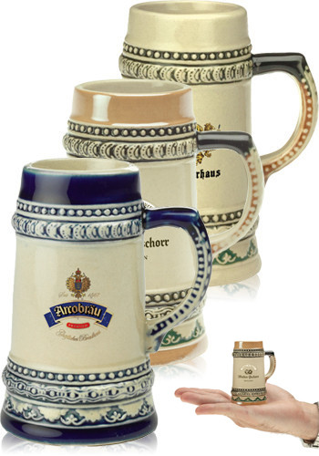 Customized 2 oz. Bremen Mini Ceramic Beer Mug Shooters