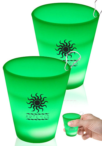 Green LED Shot Glass Medallions