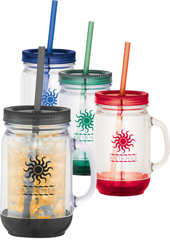 20 oz. Double Wall Plastic Mason Jars with Straw | LE162431