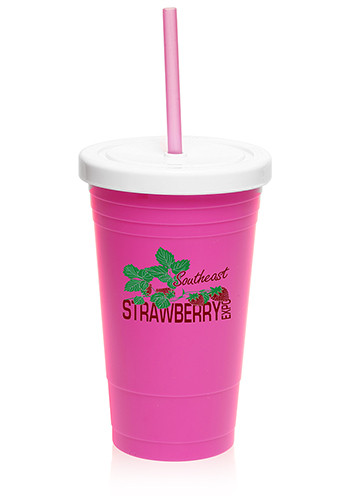 Custom 20 Oz Plastic Cups With Lid And Straw Pg133