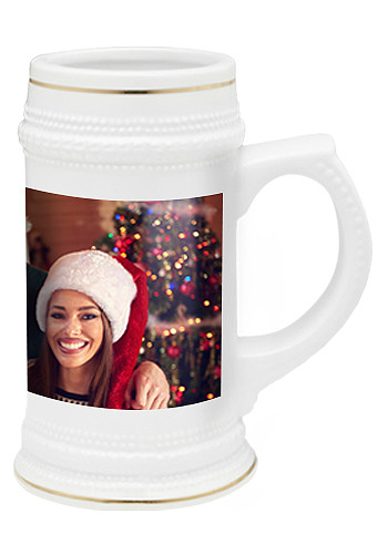 White Ceramic Photo Beer Mugs
