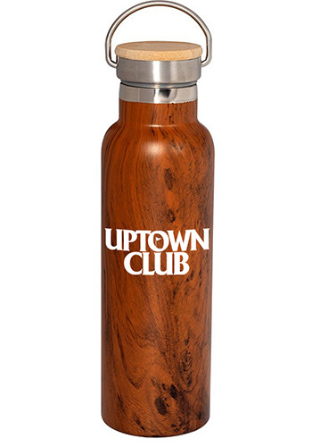 20 Oz. Woodgrain Vacuum Bottles With Bamboo Lid |PLPL4206