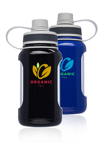 Personalized 22 oz. Exhibition Glass Water Bottles with Silicone Sleeve