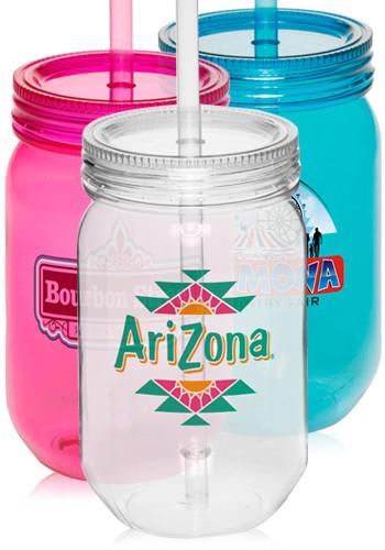 Custom 24 Oz Plastic Mason Jars With Straw Pg131 Discountmugs