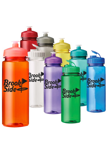 24 oz. Plastic Water Bottles with Push Lid | EM4433