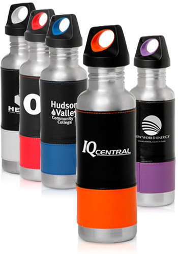 25 oz. Stainless Steel Sports Bottle with Two tone Leatherette
