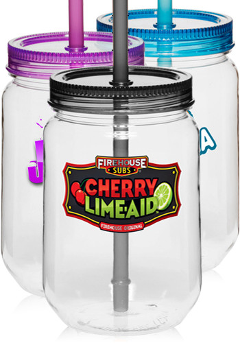 Customized 25 oz. Tritan Plastic Mason Jars