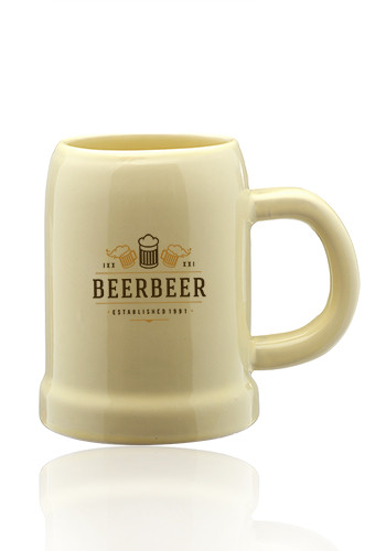 Beige Ceramic Beer Mugs