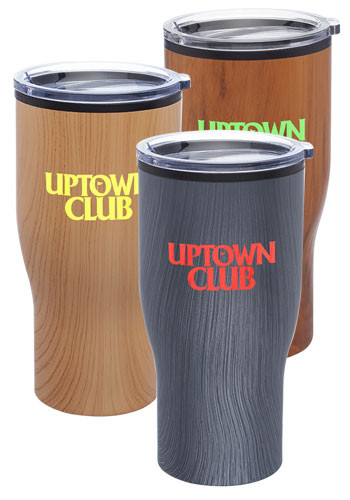 28 oz. Challenger Travel Mugs with Wood Finish | TM364W