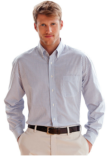 Easy-Care Poplin Box Plaid Dress Shirts | 1105
