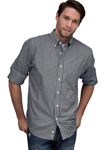 Men's Easy-Care Gingham Check Dress Shirts | 1107