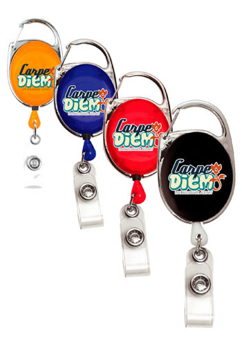 30 Inch Cord Full Color Retractable Carabiner Style Badge Reels | IVRBRCA4